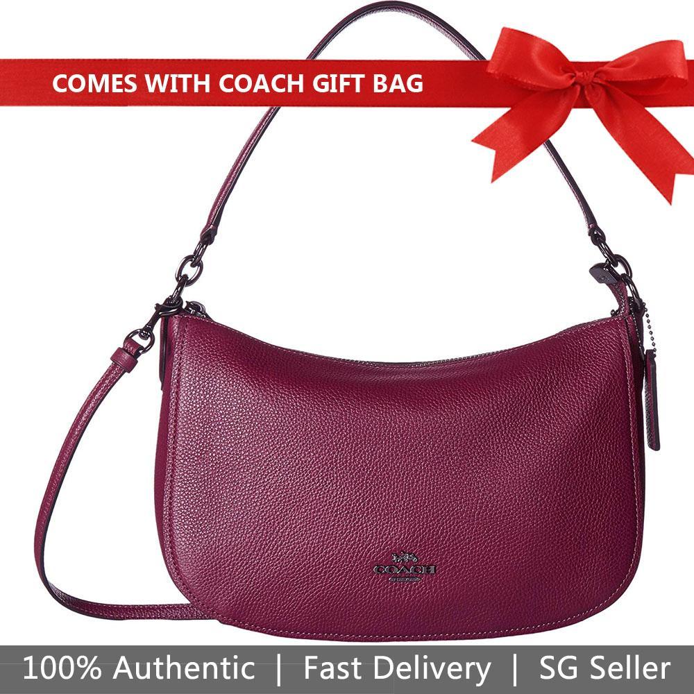 27f28abe1 Coach Crossbody Bag With Gift Bag Chelsea Crossbody Handbag Dark Berry Red  Purple # 56819