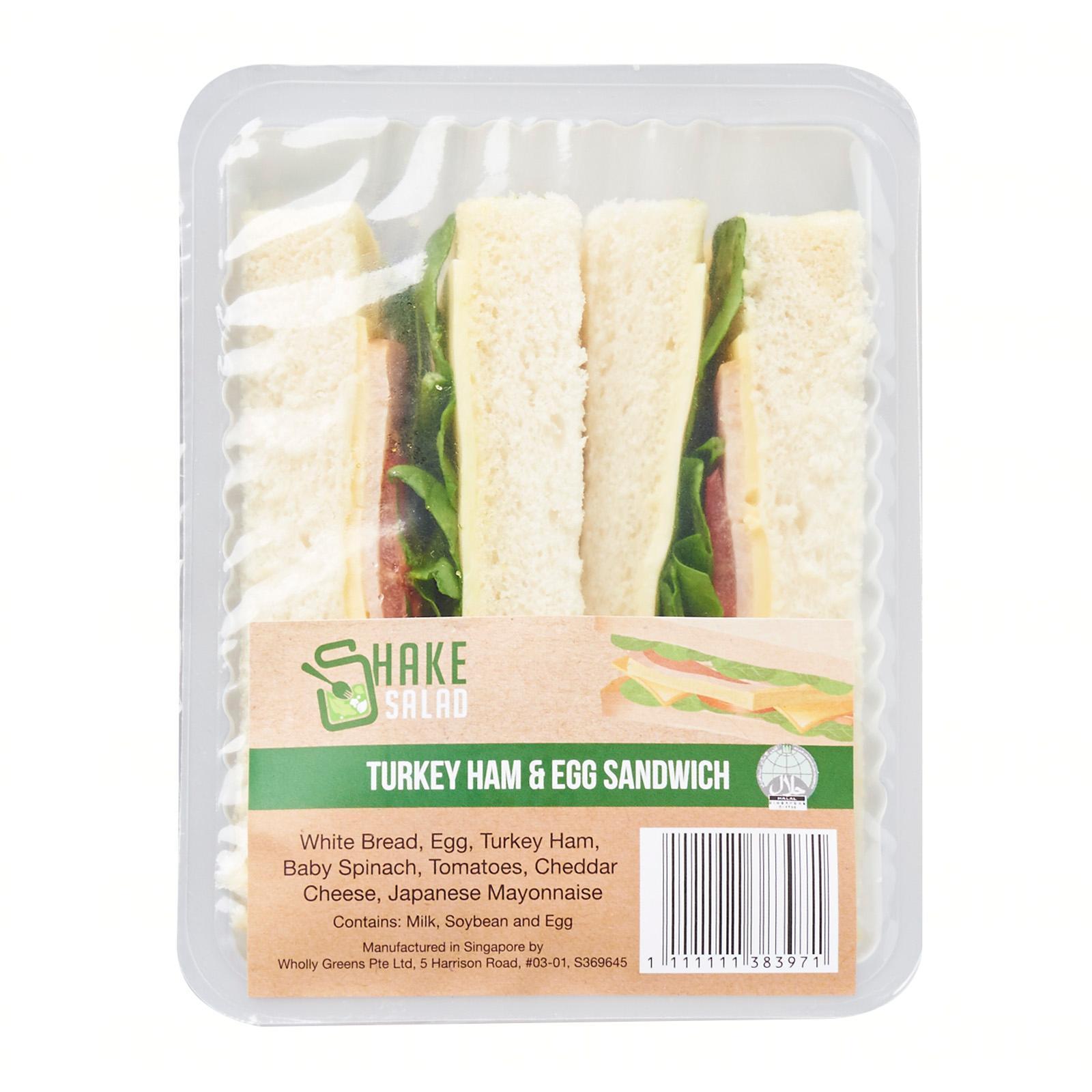 Shake Salad Turkey Ham and Egg Sandwich