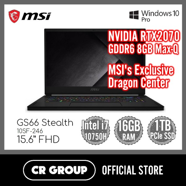 MSI GS66 Stealth 10SF-246 15.6 Inch FHD | NVIDIA RTX2070 GDDR6 8GB Max-Q | 10th Gen i7-10750H | 16GB DDR4 RAM | 1TB PCle SSD | Window 10 Pro