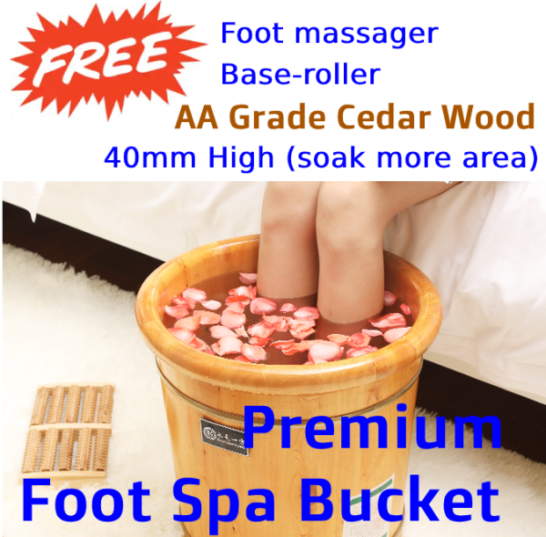 Buy (Promotion!) Premium Grade Cedar Wood Foot Spa Bucket with wooden foot massager and base roller - 40 cm Tall Singapore