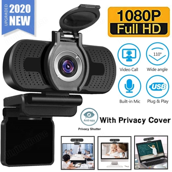 USB Webcam 1080P HD with Privacy Cover Built-in Microphone Plug and Play Wide View Angle Auto Focus Computer PC Web Camera