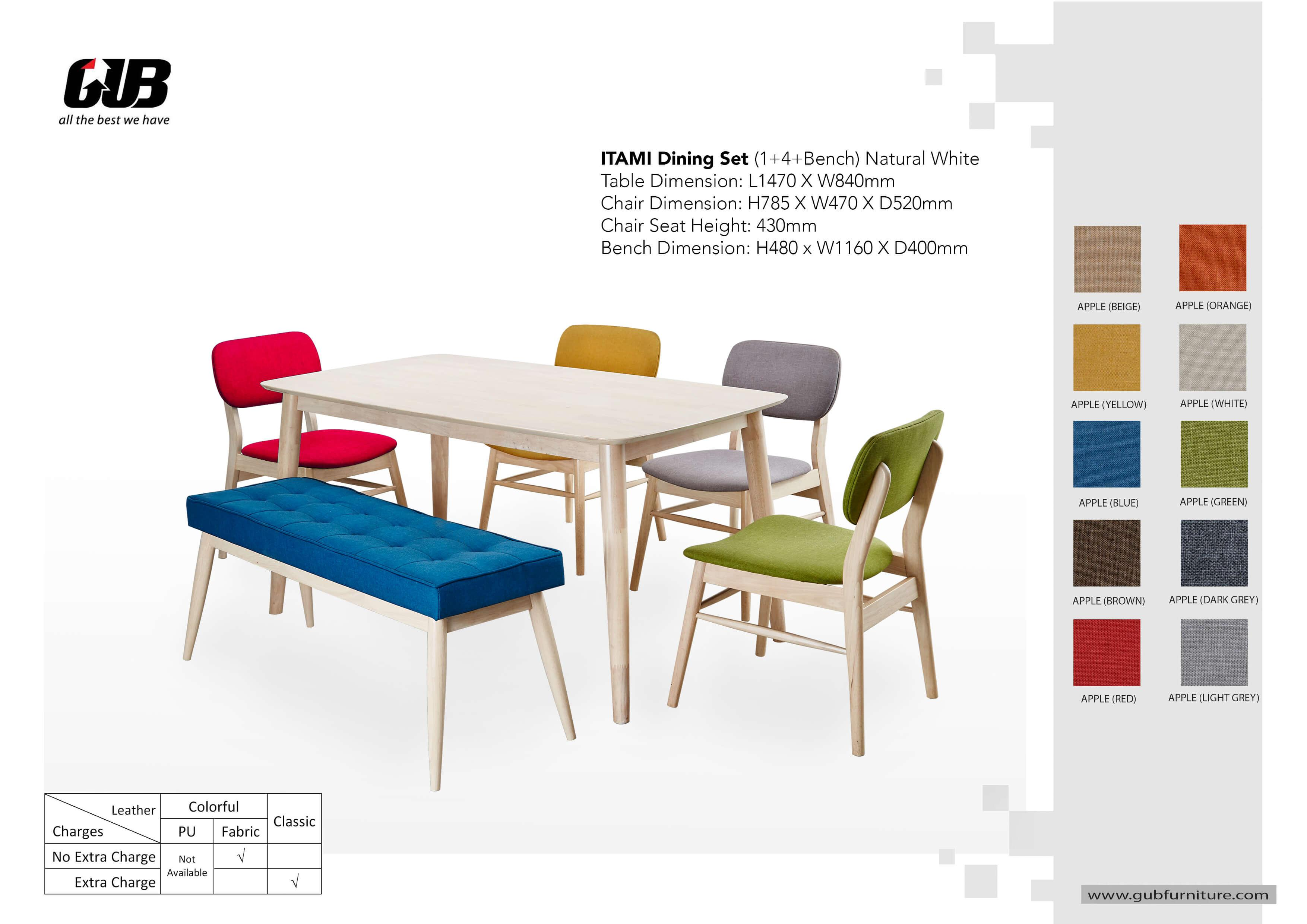 Elizabella 1+4 With Long Bench Dining Set