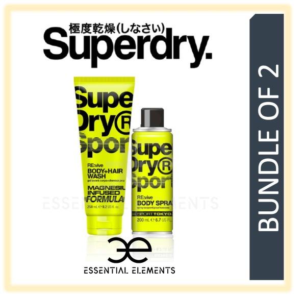 Buy SUPERDRY [BUNDLE OF 2] RE:vive MEN BODY & HAIR WASH 250ML + BODY SPRAY 200ML | SPORT ORIGINAL GROOMING ATHLETIC BATH SHOWER DEODORANT SHAMPOO Singapore