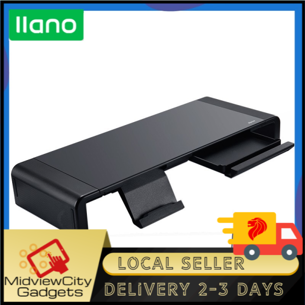 [SG]llano Folding Adjustable Monitor Stand Computer Stand with Storage Box and Phone Holder/Computer monitor table computer bracket monitor heightening shelf rack base notebook bracket