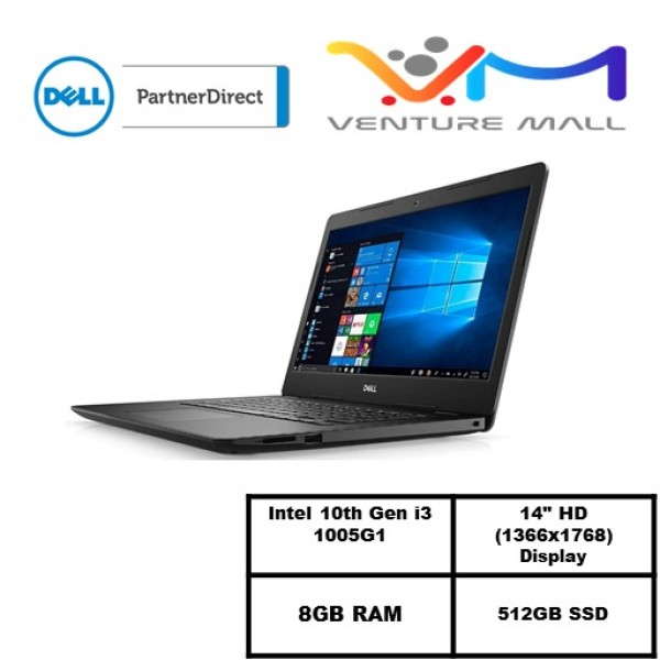 Laptop Dell Inspiron 3493 (READY STOCK)-i3 1005G1/14.0-inch/ 8GB RAM/512GB SSD/Win10