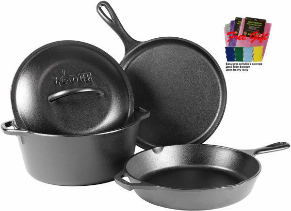 Lodge Cast Iron 4-Piece Cookware Set and free gift Singapore