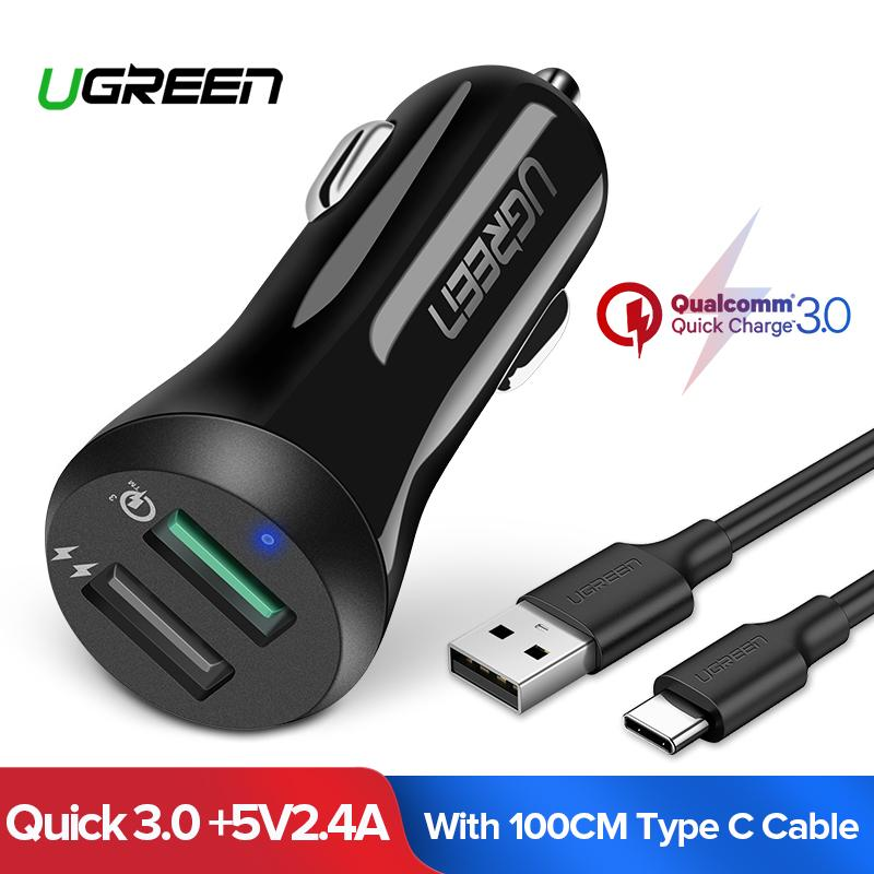 Ugreen Quick Charge 3.0 Car Charger Dual Usb Ports 30w Fast Car Adapter With 1meter Type C Fast Charging Cable - Intl By Ugreen Flagship Store.