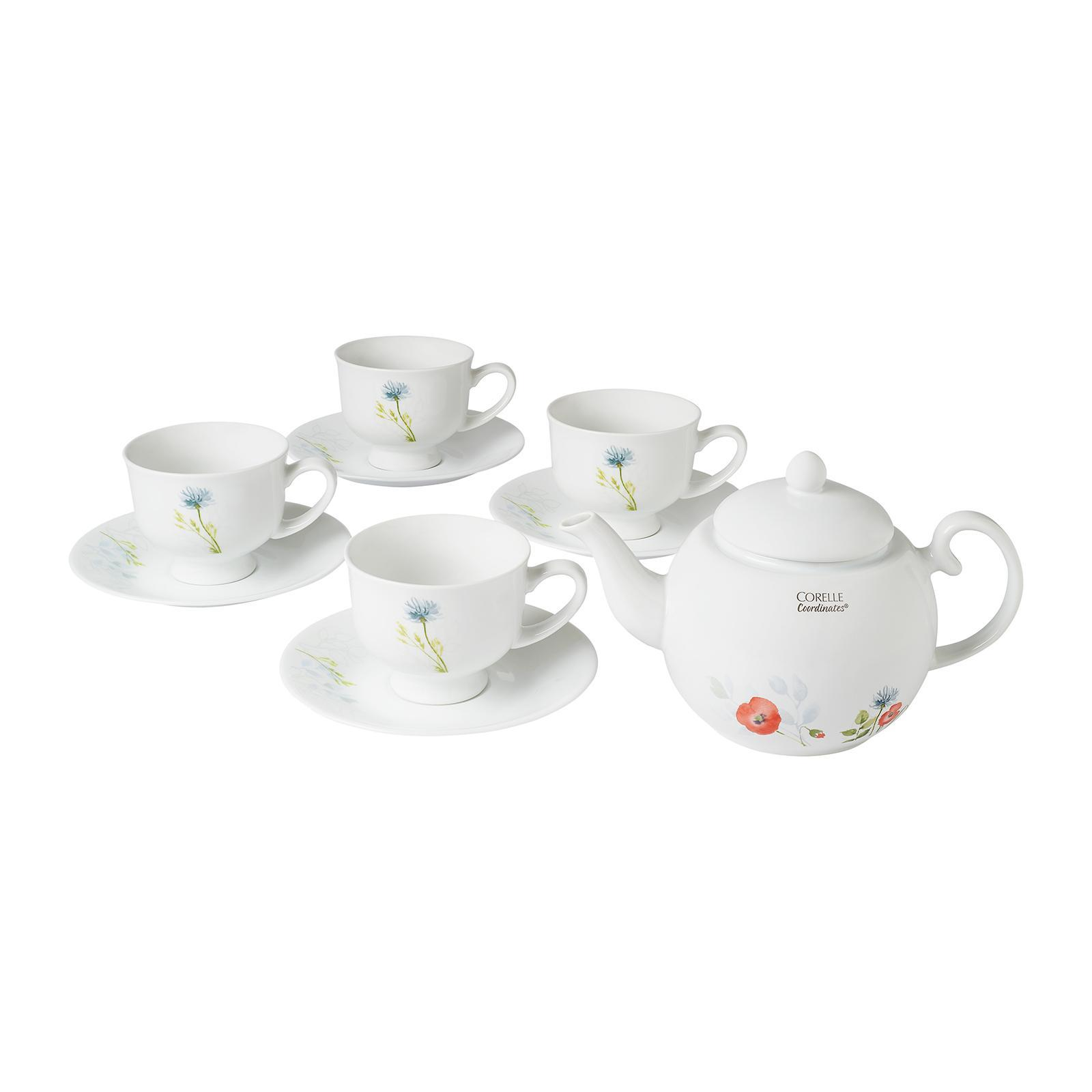 Corelle Coordinates 8 PCS Cup And Saucer Set with FREE 850 ML Teapot (Design: Daisy Field)