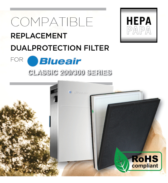 Blueair 201/203/270E/303 Blueair 200/300 Series Air Purifier Compatible Replacement DualProtection Filter [7 Days Return] [Free Alcohol Swab] [SG Seller] [HEPAPAPA] Singapore