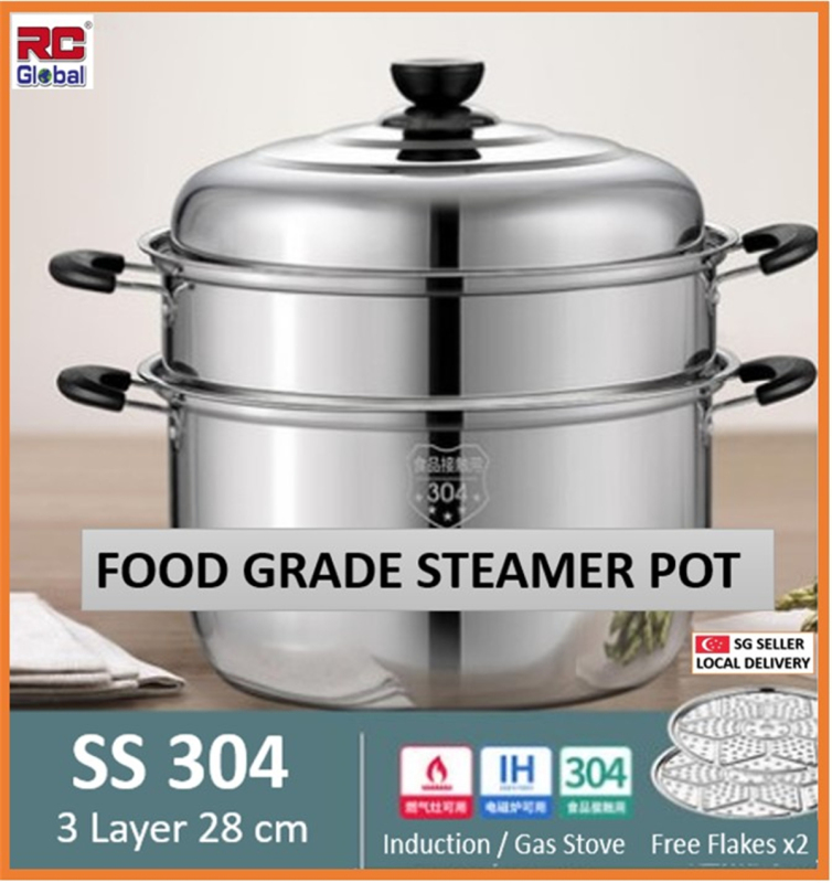 RC-Global Steamer Pot / Real  SS304 Food Grade Stainless steel  /  3 Layer 28 cm suit to 3-5 Pax / designed for induction stove & multiple  cooking stove Singapore