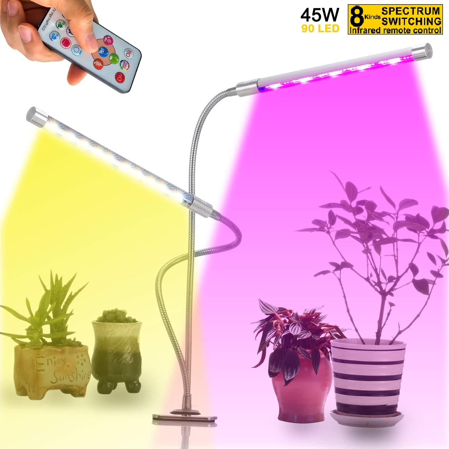 Plant Grow Lights for Indoor Plants with IR Remote Control, 45W LED Auto On/Off Growing Light, Flexible Gooseneck Dual Head for Seeding Flowering