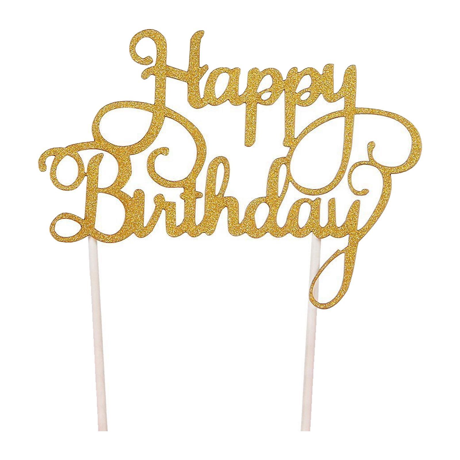 Mason Market Happy Birthday Cake Topper - Gold