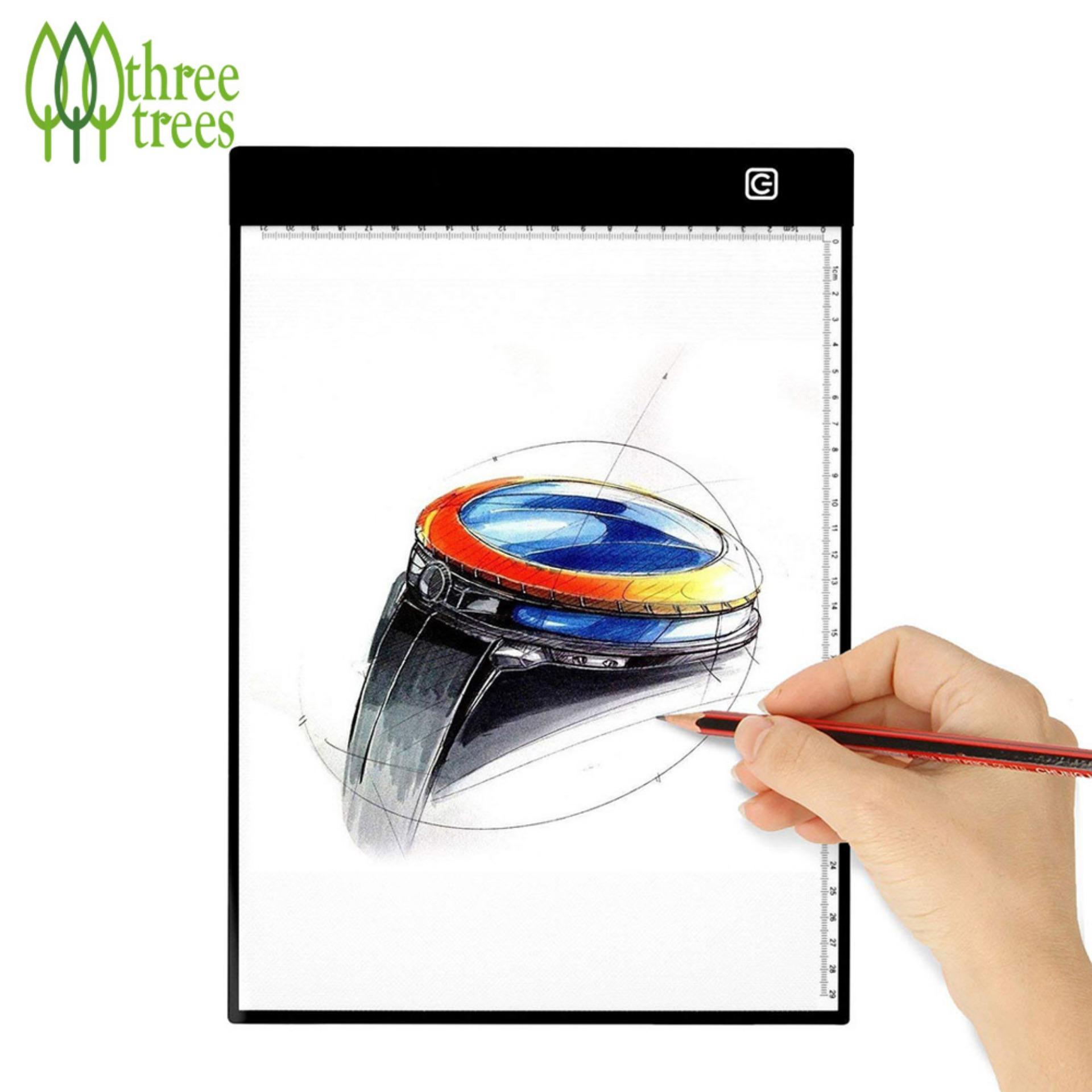 Three tree-A4 LED Tracing Drawing Pad With Dimmable Brightness Light Box For Kids And Artists Animation Drawing or Sketching