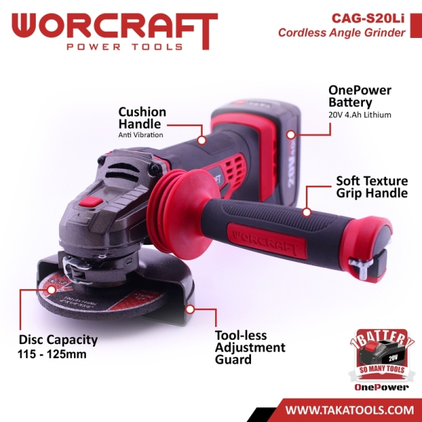 Worcraft OnePower Cordless Battery Angle Grinder - (Tool Only)