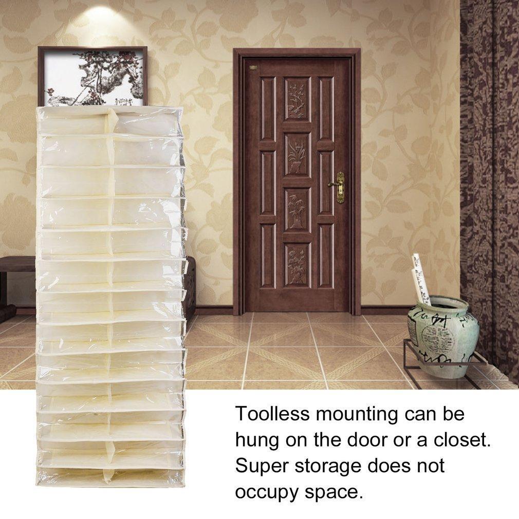 Gift Shoe Rack Storage Organizer Holder Folding Hanging Door Closet 26 Pocket Beige White - intl