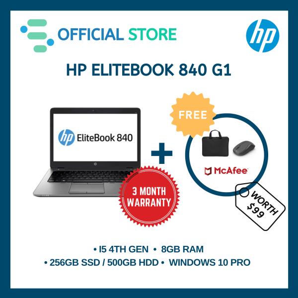 [Refurbished] HP EliteBook 840 G1 | 14.1 | Intel Core i5-4300 4th Gen | 8GB Ram | 500GB HDD / 256GB SSD | 90 Day Warranty | FREE Laptop Bag + Wireless Mouse + Anti-Virus
