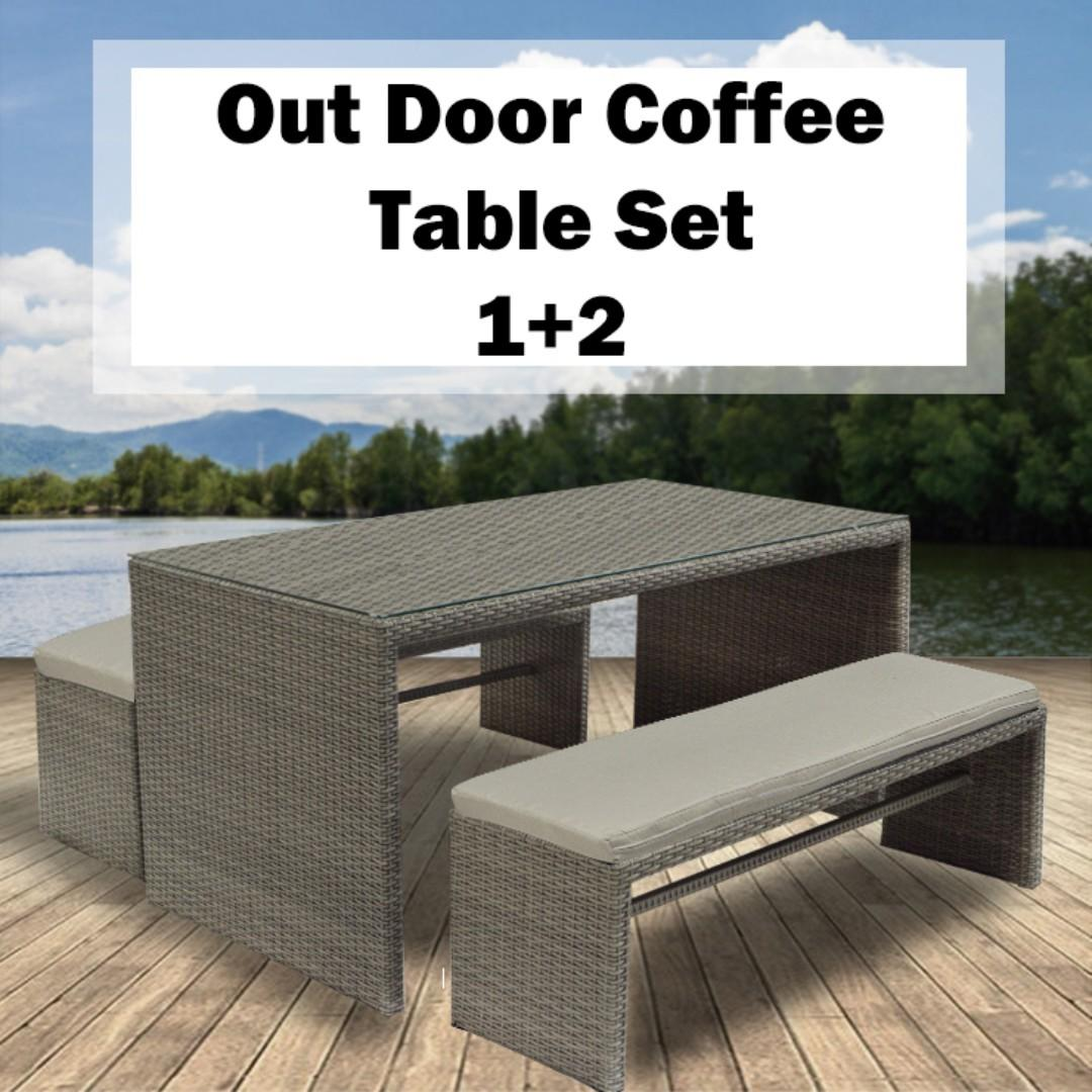 Outdoor / Patio Long Table Set with 2 Bench Grey 1.6m