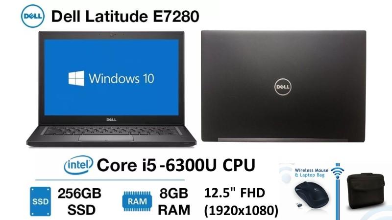 DELL LATITUDE E7280 / i5-6300U (6th Gen) / 2.4GHz / 8GB RAM / 256GB SSD / 12.5 FULL HD DISPLAY / INTEL HD GRAPHICS / WINDOWS 10PRO / SLIM & WEIGHTLESS LAPTOP / FREE NEW BAG & WIRELESS MOUSE ( 5-MONTHS WARRANTY)