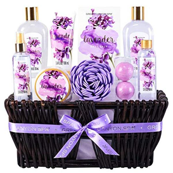 Buy Green Canyon Spa Lavender Spa Gift Baskets for Women, Christmas/Birthday Gift Ideas 10 Pcs Spa Gift Sets with Handmade Weaved Basket Singapore