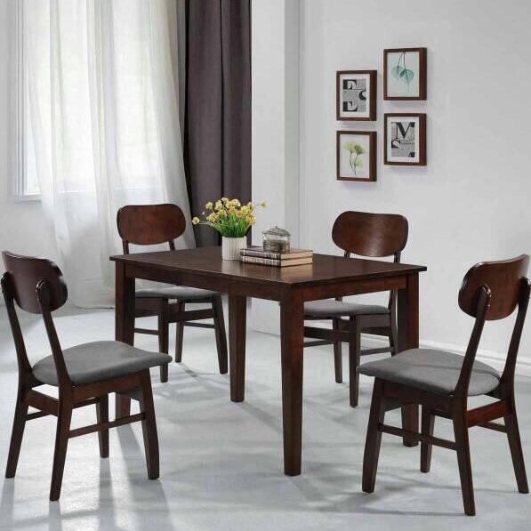 [A-star] Morton Dining Set in Walnut with cushion(Free Install)!!