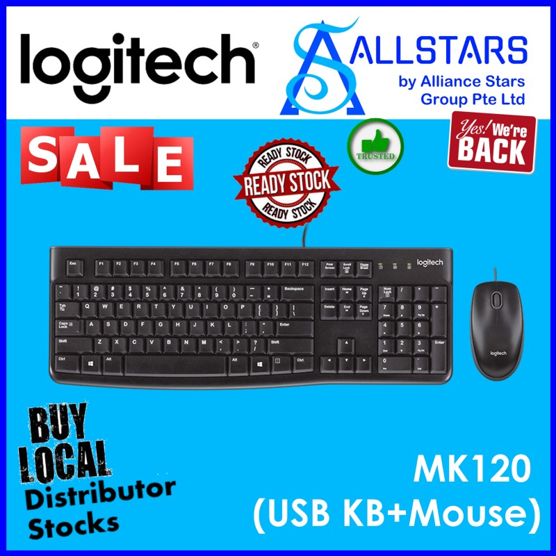 (ALLSTARS : We are Back / All Time Favorite PROMO) LOGITECH MK120 USB Desktop Combo / USB Wired / Keyboard & Mouse (920-002586) / NOT Wireless (Warranty 3years with Local Distributor BanLeong) Singapore
