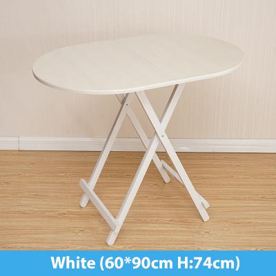 Colorful Oval Folding Portable Foldable Table - White 60(W) x 90(L) x 74(H) cm