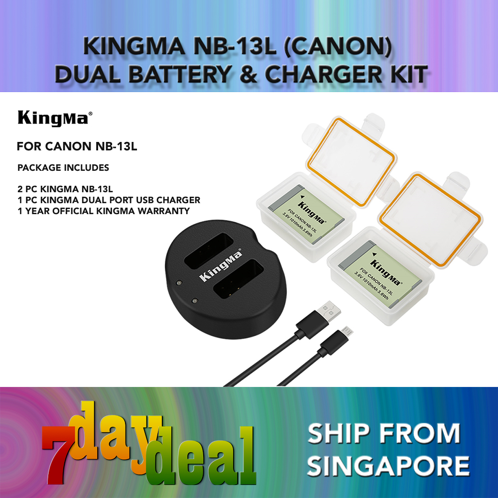 Canon Nb-13l Battery (2 Pack) And Rapid Dual Charger Set (kingma Brand Nb13l Li-Ion Battery And Usb Dual Charger).