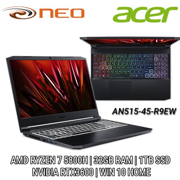 Acer Nitro AN515-45-R9EW (Black) QHD 15.6| AMD RYZEN 7 5000 Series | NVIDIA RTX 3600 6GB DDR6 | 32GB RAM | 1TB SSD | WIN 10 HOME | 2 Years Local Singapore Carry-in Warranty - NH.QBCSG.006
