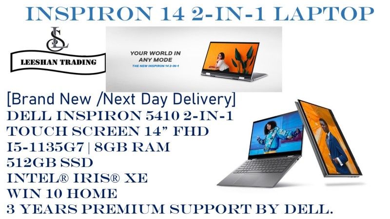 [New Arrival] [Next day delivery] DELL Inspiron 5410 2-in-1 TOUCH SCREEN 14 FHD | i5-1135G7 | 8GB RAM | 512GB SSD | Intel® Iris® Xe | WIN 10 HOME | 3 YEARS Premium Support By Dell