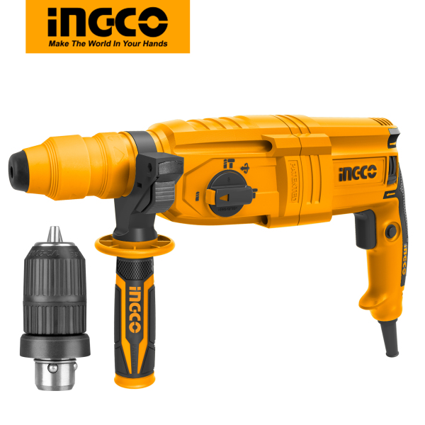 INGCO 800W Rotary Hammer Drill with 1 Chuck3 Drill bits and 2 Chisels RGH9028-2