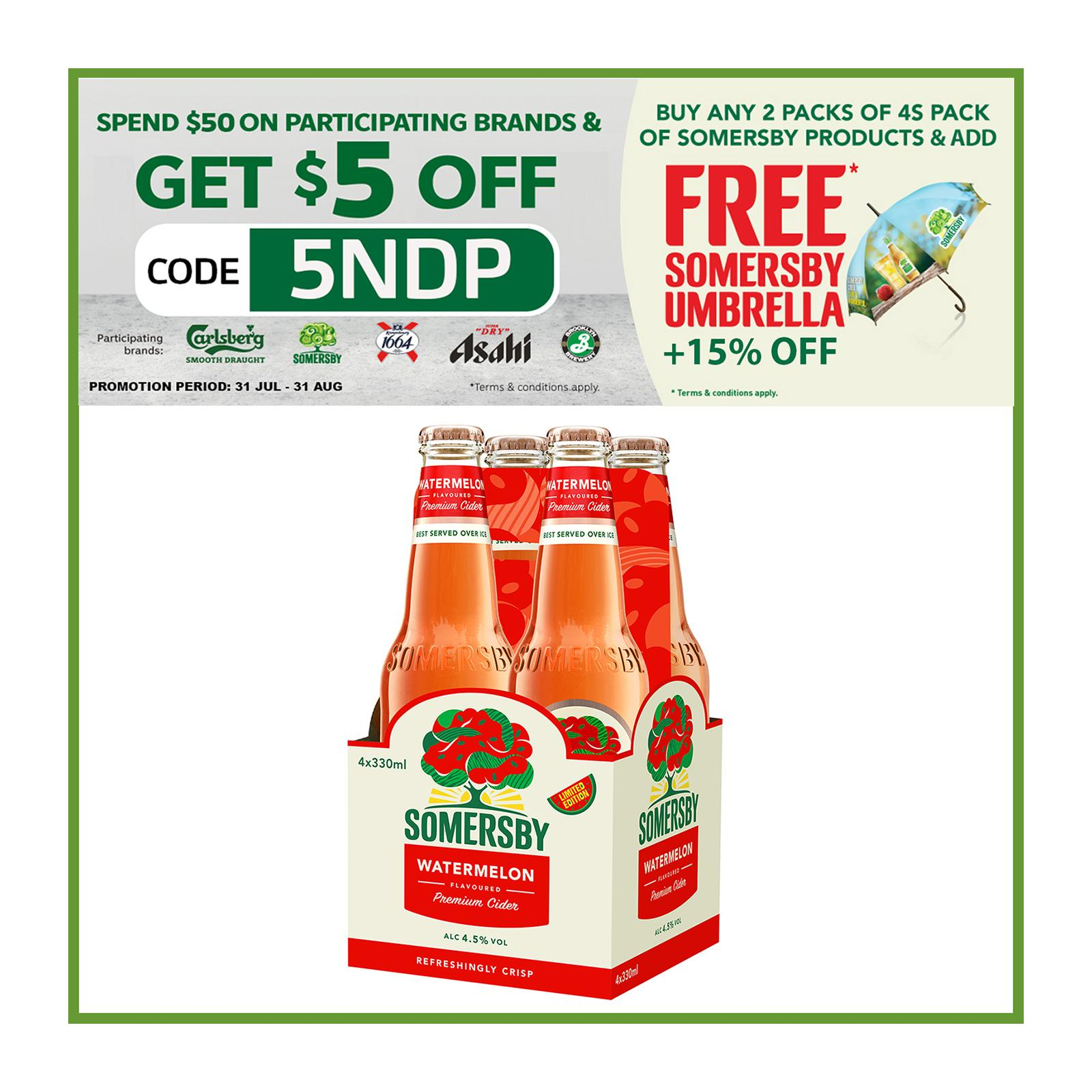 Somersby Watermelon Cider Bottles 330ml (Pack of 4)