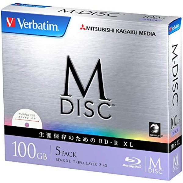 Verbatim Verbatim M-DISC long-term storage once Blu-ray disc recording for BD-R XL 100GB 5 sheets white printable single-sided, triple-layer 1-6 times faster DBR100YMDP5V1