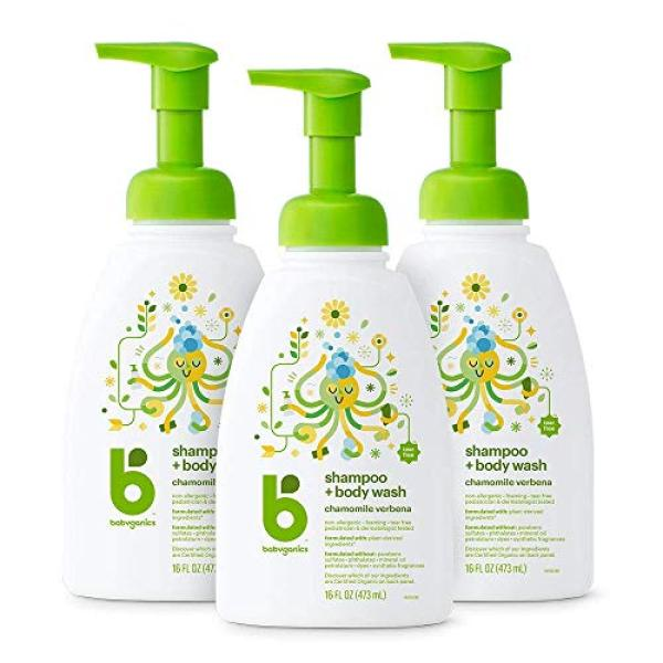 Buy (USA)Babyganics Baby Shampoo & Body Wash, Chamomile Verbena, 473ml (Pack of 3) Singapore