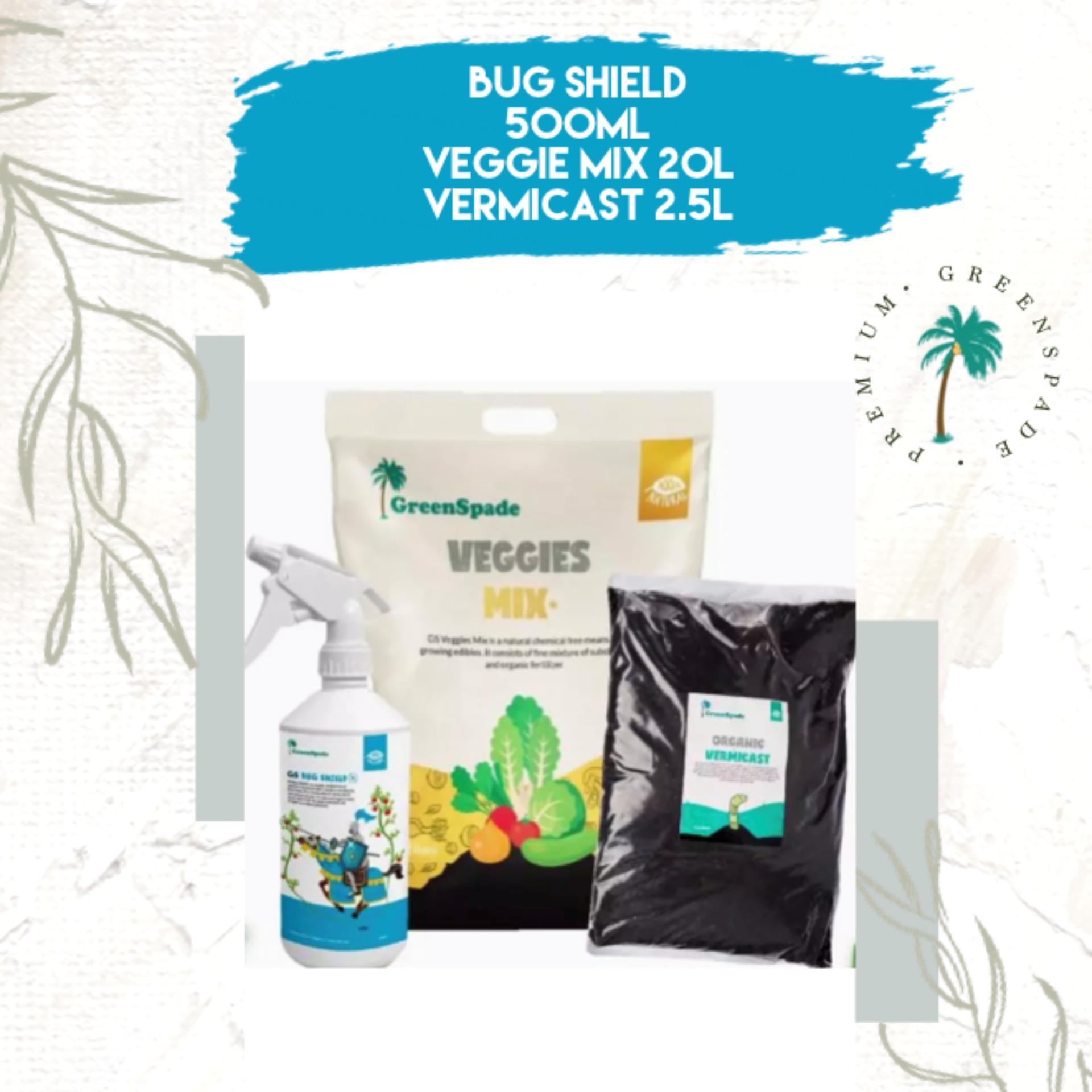 [BUNDLE] Green Spade Veggies Mix 20L, Bug Shield 500ml, Vermicast 2.5L