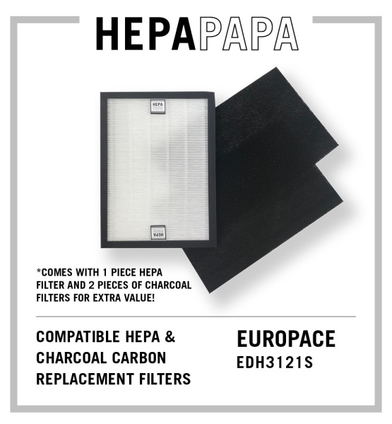 Europace EDH3121S Compatible Replacement Filters (2 Pieces of Carbon Filter) [HEPAPAPA] Singapore