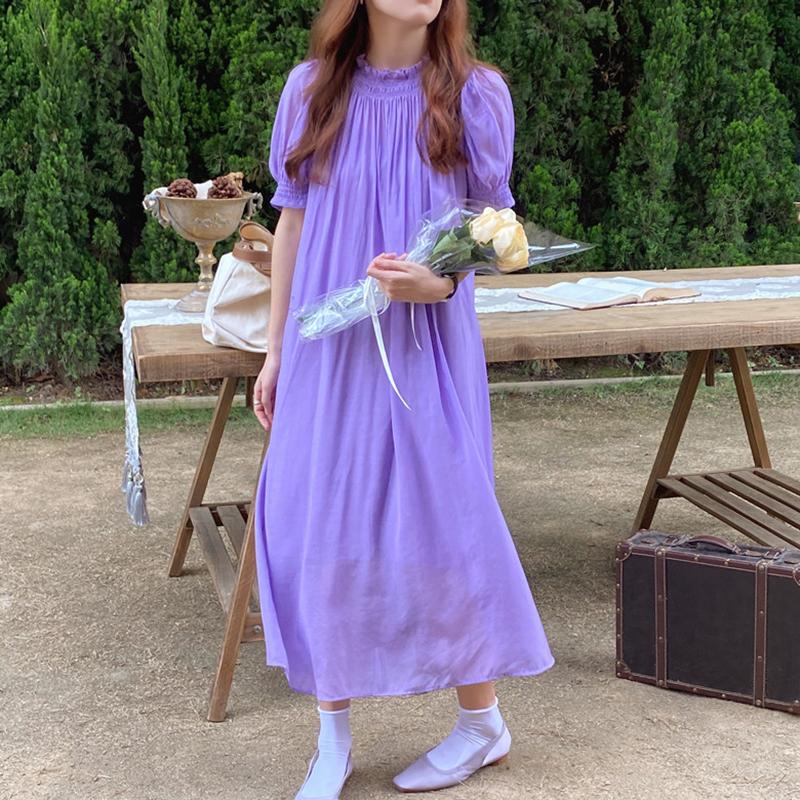 Hàn Quốc Chic Mùa Hè Phong Cách Retro Bơ Trắng Cổ Áo Kiểu Gấp Thiết Kế Dáng Suông Rộng Tay Bồng Đầm Váy Dài Nữ