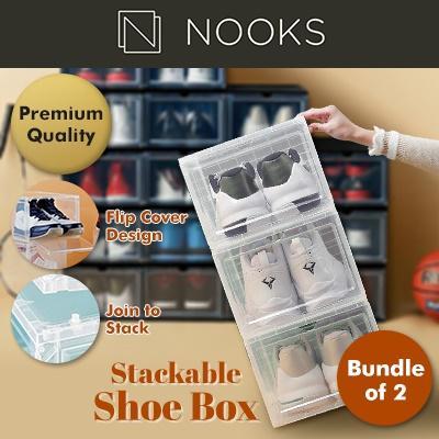 NOOKS - AJ Stackable Sneakers Shoe Storage Box - High Quality  Big Capacity (Bundle of 2)