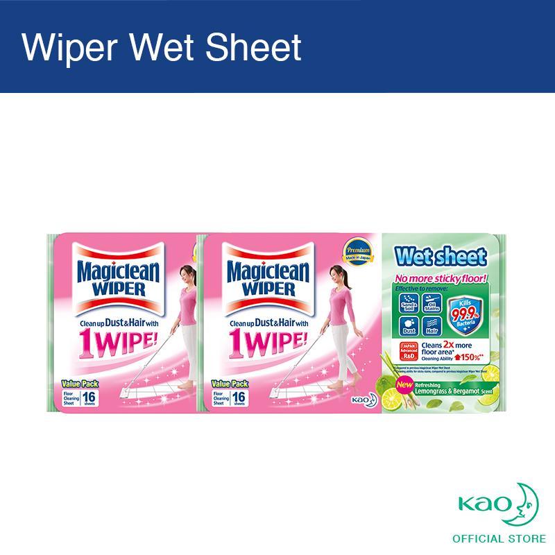 Magiclean Wiper Wet Sheet Lemongrass & Bergamot 16s (set Of 2) By Kao Homecare.