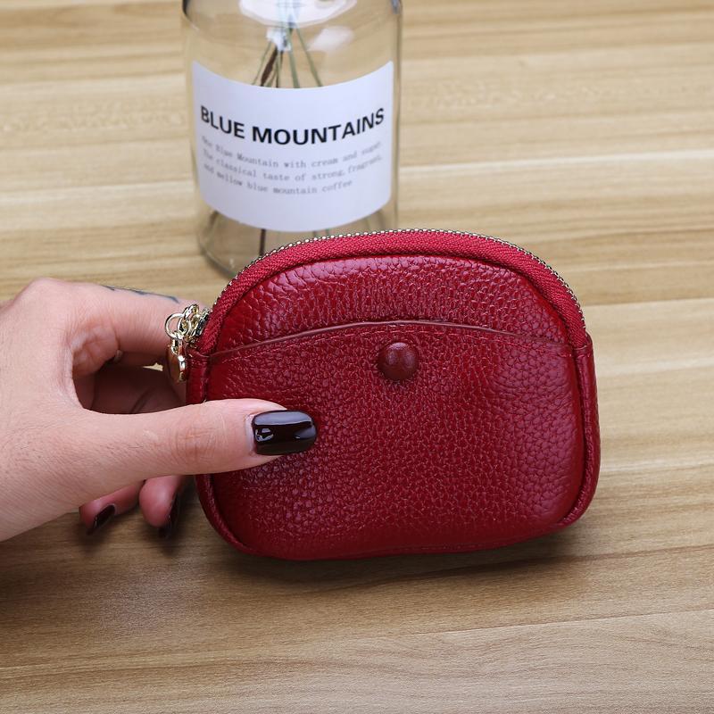 Kulit asli Dompet Uang Receh model wanita Mini dompet koin Imut minimalis Korea Selatan kulit sapi model pendek dompet kecil 2019 model baru pasang