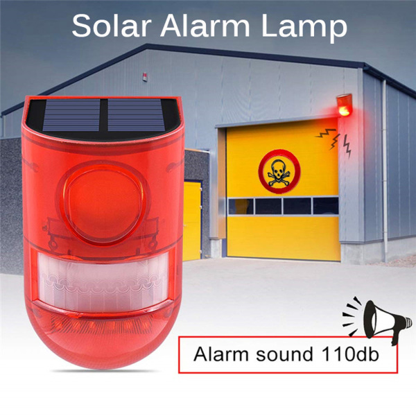 HDG67 Loud Solar Powered For Farm Warehouses Factory Detector Strobe Light Sound Alert Orchard Alarm System Motion Sensor Warning Lamp Security Protection