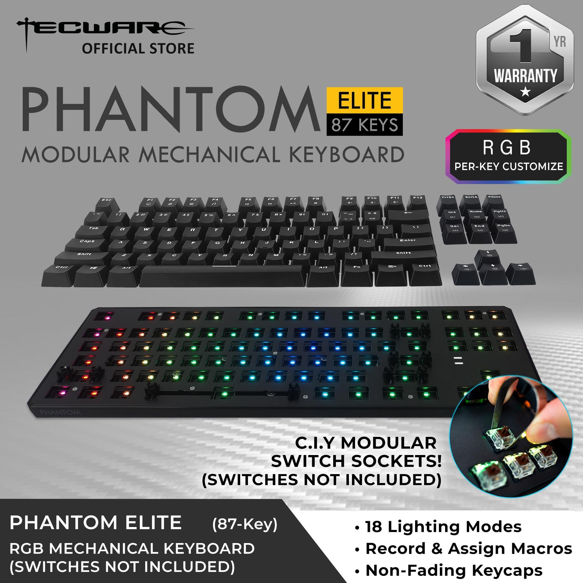Tecware Phantom Elite 87-Key RGB Modular Mechanical Keyboard (13 Switch Options)