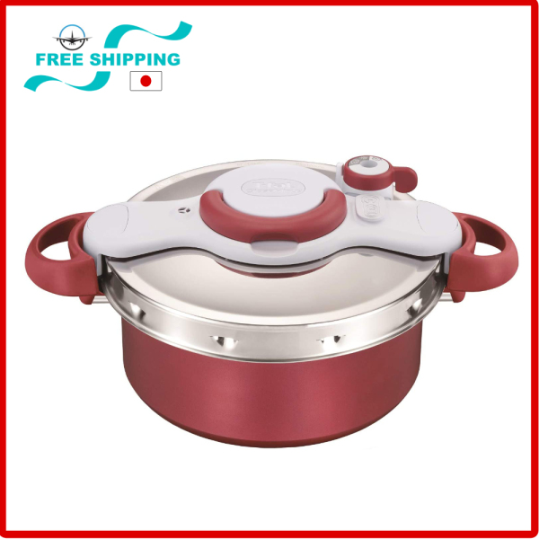 Tefal pressure cooker 4.2L IH compatible, One-touch opening and closing 2in1 Clipso Minut DUO, IH & GAS Stove Compatible,Red Singapore