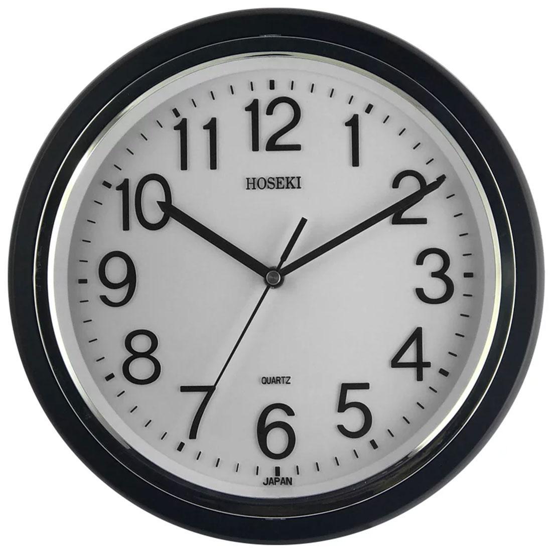 Hoseki Japan Quartz H-9403BK H-9403 Black Round Analog Decor Wall Clock