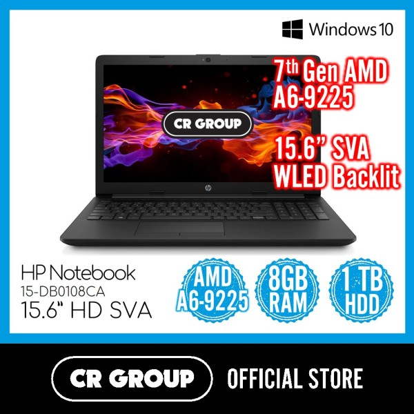 HP Notebook 15-DB0108CA 15.6 Inch HD | AMD A6-9225 | 8GB DDR4 RAM | 1 TB HDD