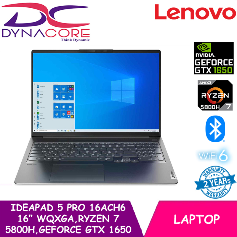 DYNACORE - Lenovo IdeaPad 5 Pro 16ACH6   82L50074SB   16inch WQXGA (2560x1600) IPS 350nits   AMD Ryzen 7 5800H   GeForce GTX 1650   16GB DDR4-3200   512GB SSD   Win10 Home   2 YEARS WARRANTY