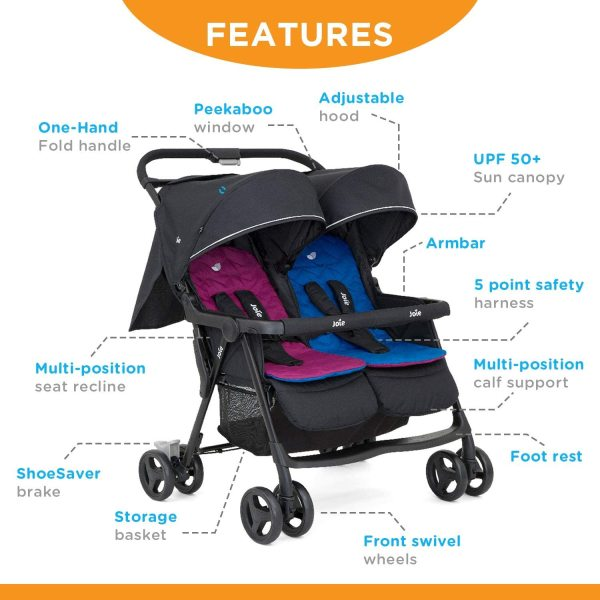 Joie Aire Twin Stroller Two 2 Kids Children Child Baby Double 2 Two Twin Seat Seater Stroller Jogger, Rosy & Sea Singapore