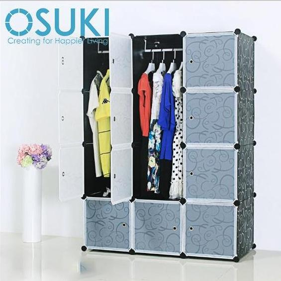 OSUKI Living Cabinet Wardrobe 12 Cubes With 2 Hanger (Black White)