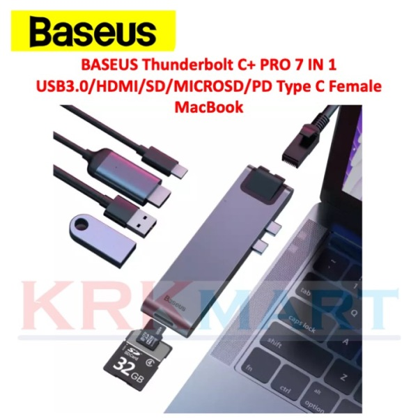 BASEUS Thunderbolt C+ PRO 7 IN 1 USB3.0/HDMI/SD/MICROSD/PD Type C Female MacBook HUB Converter
