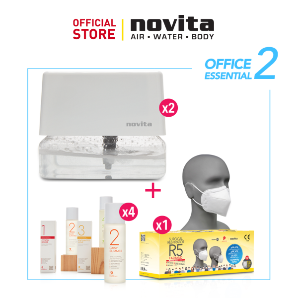 novita Office Essential Package 2 (Air Revitalizer AR3 x 2 + Air Purifying Solution x 4 + Surgical Respirator R5 Earband 100pcs in a box) Singapore