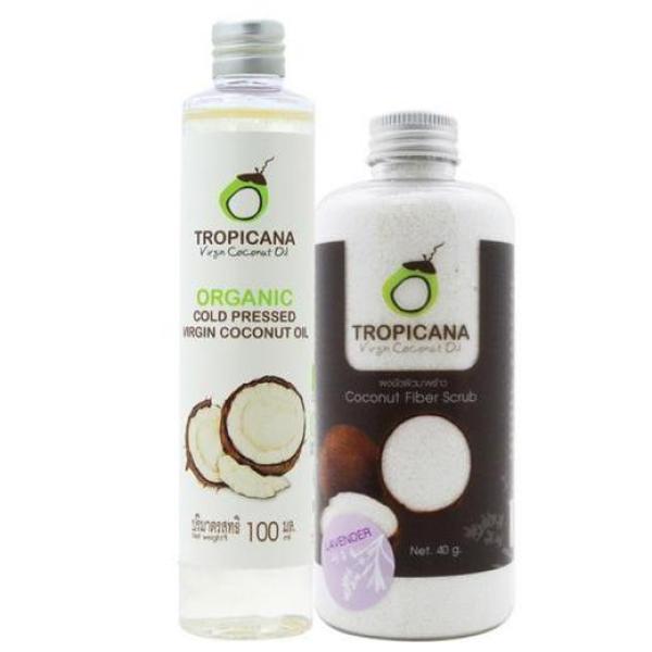 Buy Tropicana Coconut Fiber Scrub + Organic Cold Pressed Virgin Coconut Oil 100ml Singapore